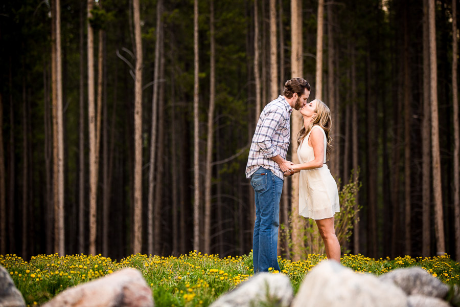 engagement photo Breckenridge Colorado sunflowers pine trees wedding photographer