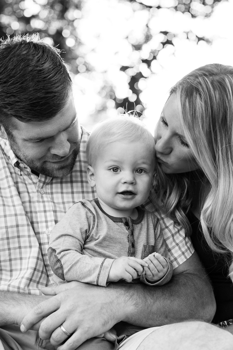 black and white family photograph mother kissing son Phoenix Arizona photographer