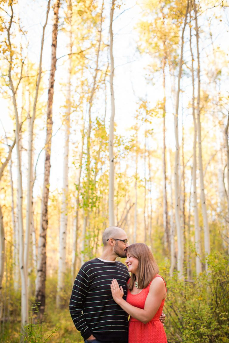engagement photo yellow aspens Vail Colorado