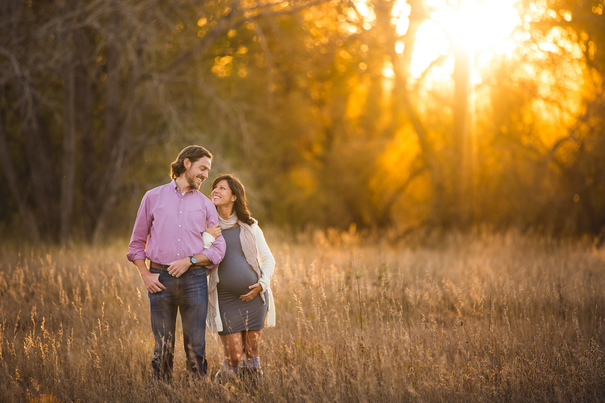 maternity photograph beautiful happy expecting parents golden sunset Arizona