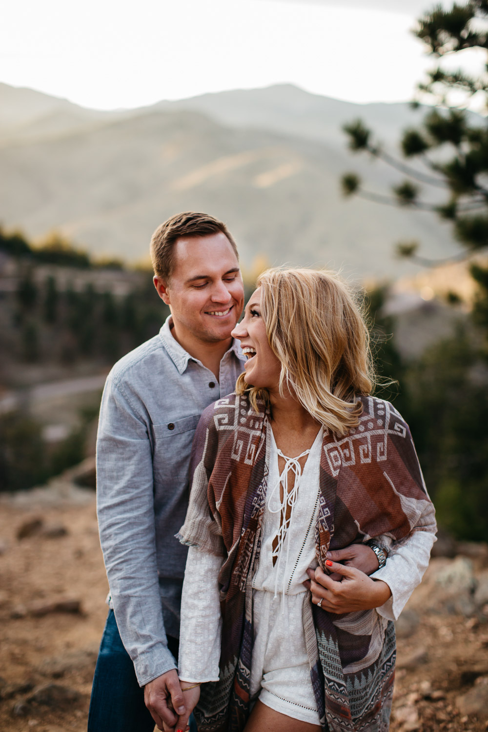 gorgeous couple engagement photos golden light mountains Arizona Colorado