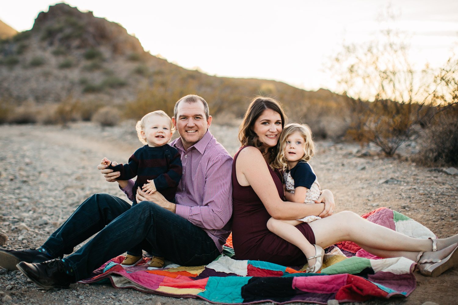 family young children happy smiling sunlight Phoenix Arizona family photography session