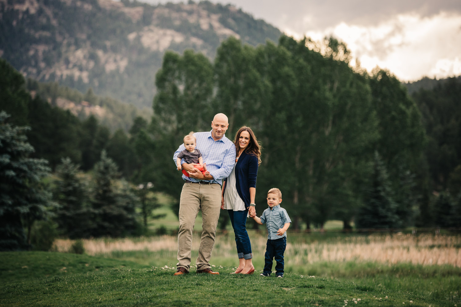 Phoenix family photography session outdoors mountains sun light candid colorful