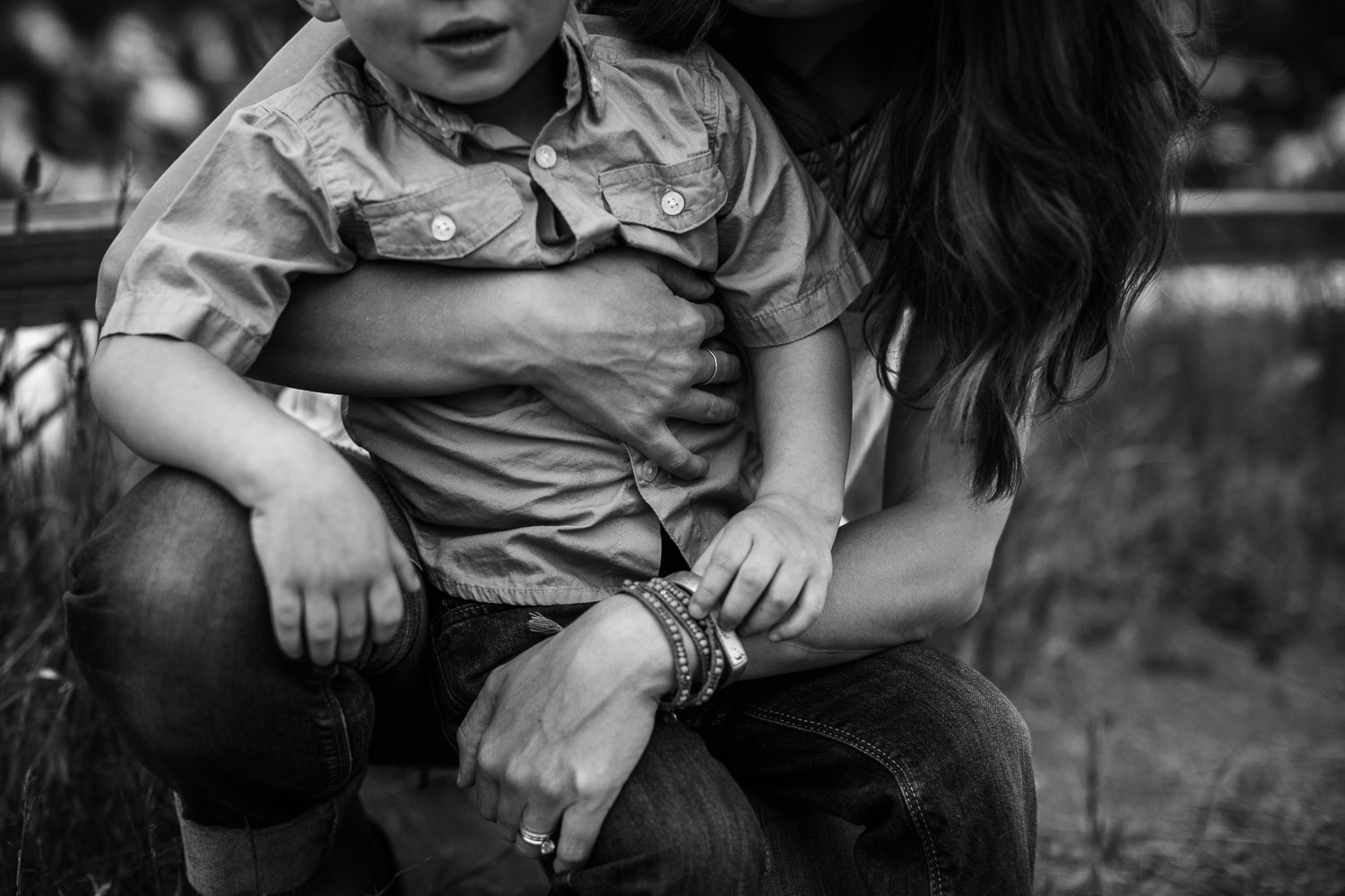 mother son holding hands gorgeous light scottsdale photographer black and white