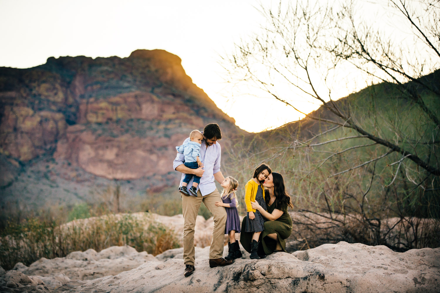 Family portrait sunset Arizona mountains real love candid moment