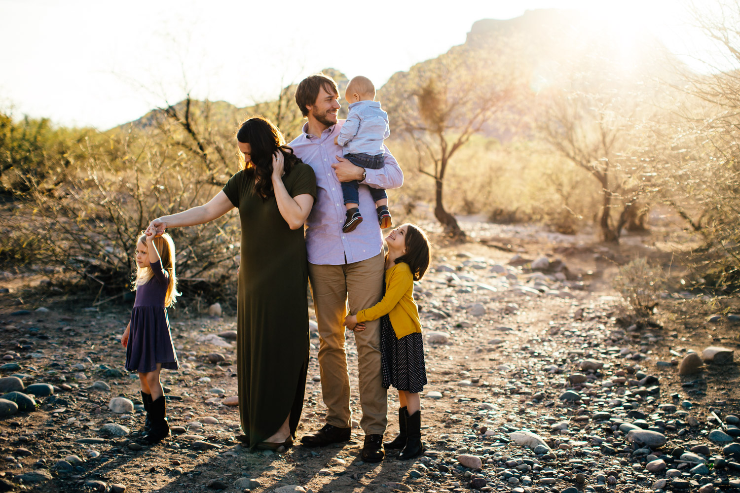 candid fun real family photograph mountains sunset Scottsdale photography